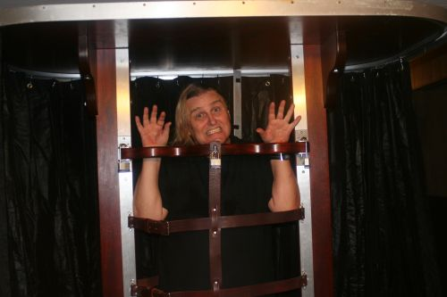 Monty all locked up in Honolulu Hawaii. Having a little fun with an illusion